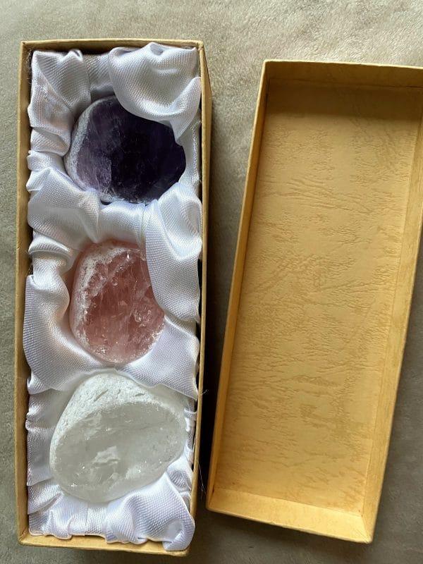 Drei Fensterkiesel (Amethyst, Bergkristall & Rosenquarz) - Harmonie - Ruhe - Frieden 5 SanjaNatur