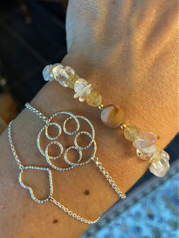 Edelsteinarmband Citrin mit Mondstein, Bergkristall und Achat - Kraft und Selbstbewusstsein 2 SanjaNatur