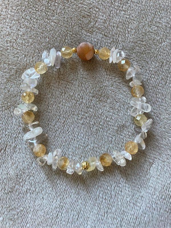 Edelsteinarmband Citrin mit Mondstein, Bergkristall und Achat - Kraft und Selbstbewusstsein 1 SanjaNatur
