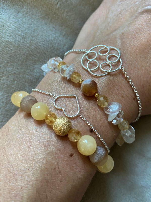 Edelsteinarmband Citrin mit Mondstein, Bergkristall und Achat - Kraft und Selbstbewusstsein 4 SanjaNatur