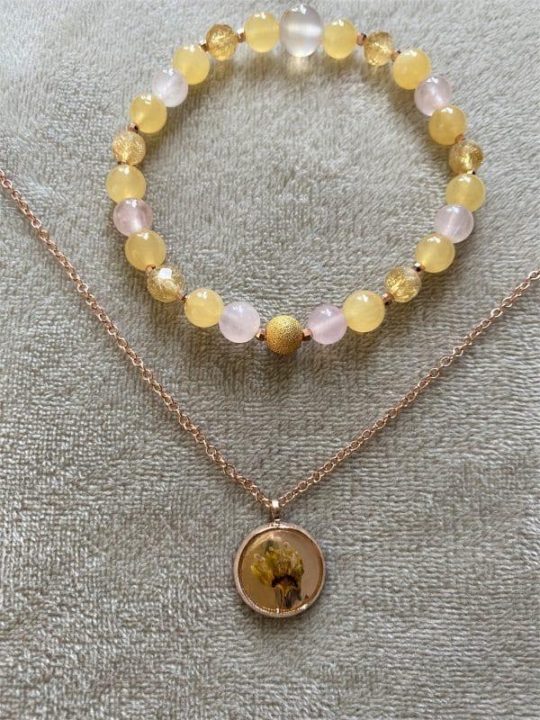 Set: Edelsteinarmband Citrin & Orangencalzit mit Blütenkette gelber Frühling rosegold 3 SanjaNatur