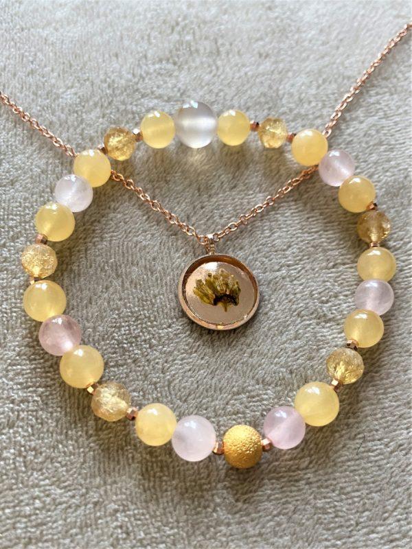 Set: Edelsteinarmband Citrin & Orangencalzit mit Blütenkette gelber Frühling rosegold 4 SanjaNatur