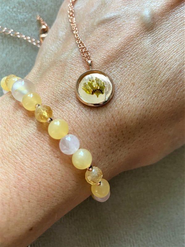 Set: Edelsteinarmband Citrin & Orangencalzit mit Blütenkette gelber Frühling rosegold 6 SanjaNatur