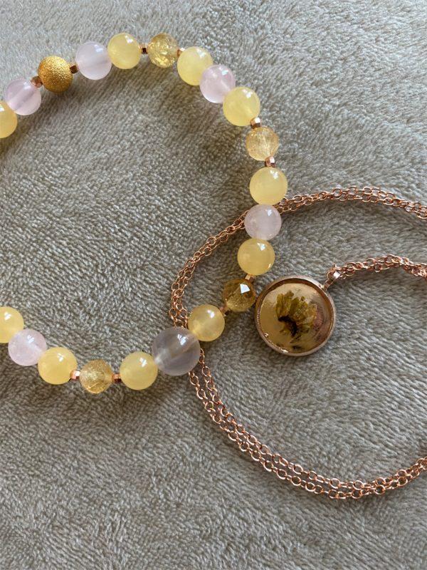 Set: Edelsteinarmband Citrin & Orangencalzit mit Blütenkette gelber Frühling rosegold 1 SanjaNatur