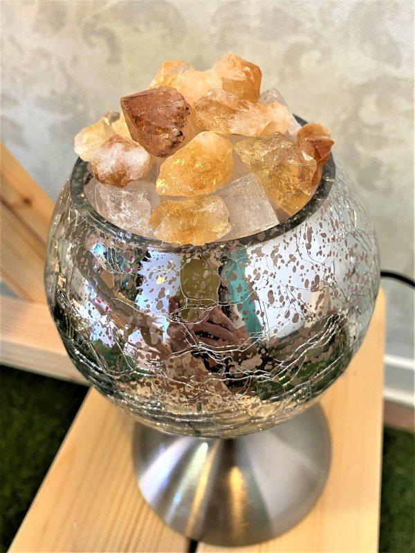 Heilstein Lampe 003 - silber spiegelnd mit Citrin, Bergkristall und Salzkristall 4 SanjaNatur