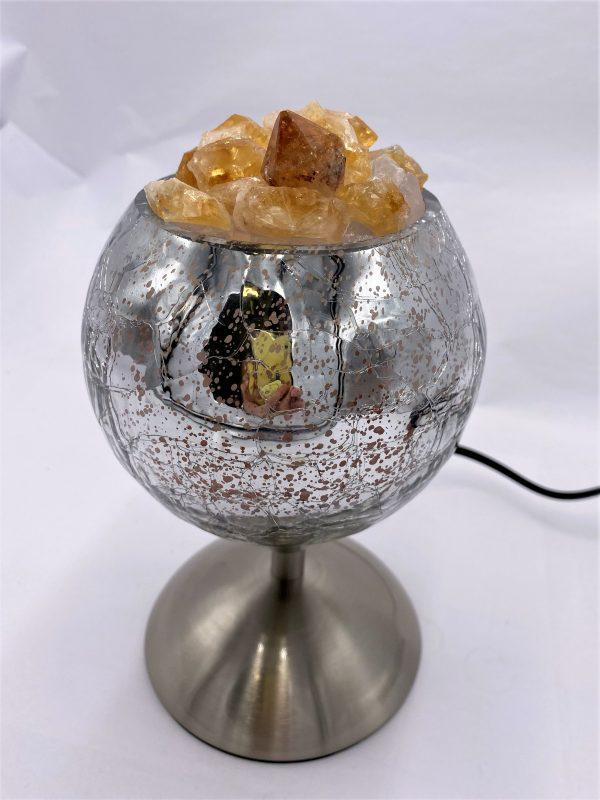 Heilstein Lampe 003 - silber spiegelnd mit Citrin, Bergkristall und Salzkristall 5 SanjaNatur