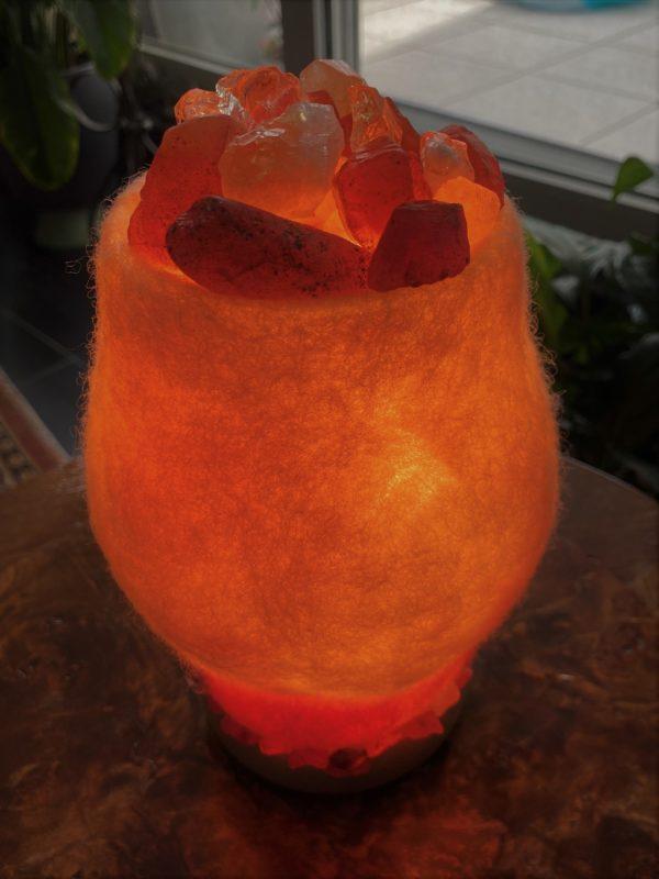 Edelstein Filzlampe 067 - creme + Citrin und Carneol - Selbstvertrauen und Kraft 6 SanjaNatur
