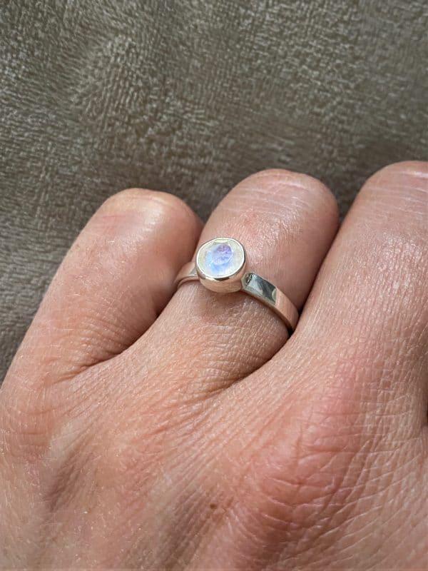 Ring Silber Labradorit (groß) weiß - Intuition & Ruhe 1 SanjaNatur