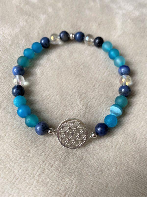Edelsteinarmband blauer Achat mit Dumortierit  und Blume des Lebens - Silber 1 SanjaNatur