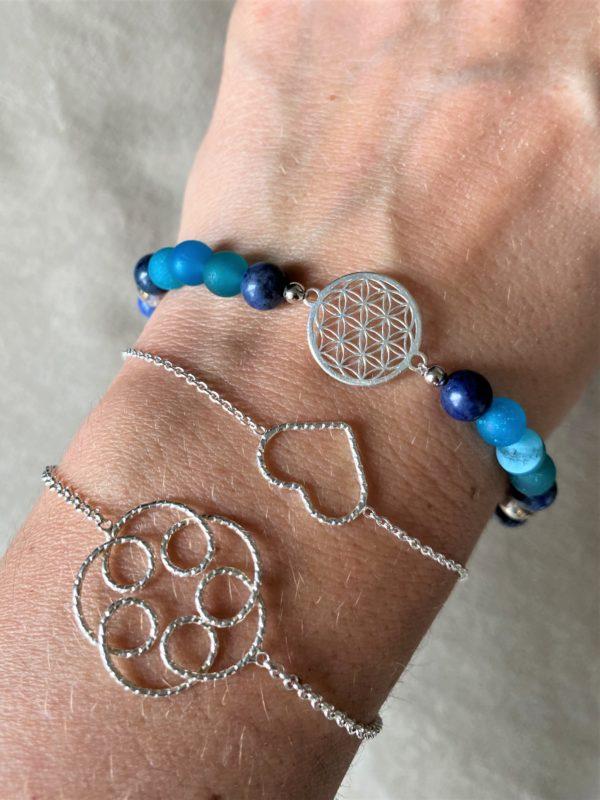 Edelsteinarmband blauer Achat mit Dumortierit  und Blume des Lebens - Silber 3 SanjaNatur