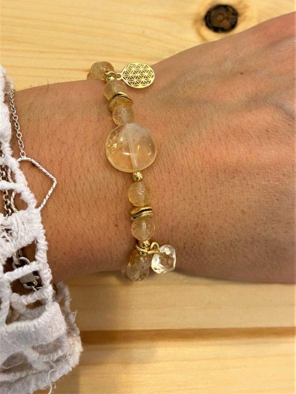 Set: Citrinarmband mit goldener Blume des Lebens und Ohrhängern - Individualität, Mitte, Entschlossenheit 2 SanjaNatur