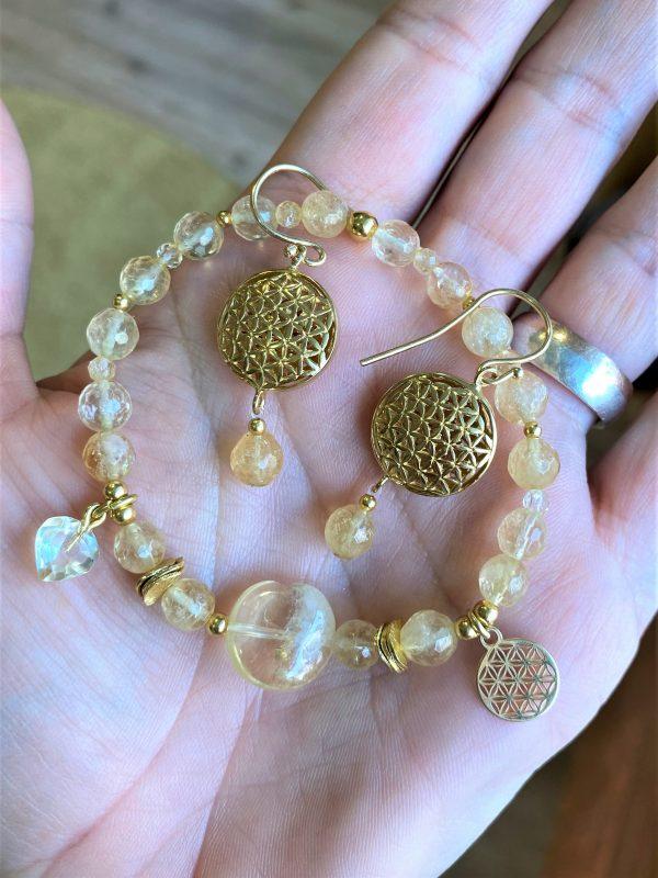 Set: Citrinarmband mit goldener Blume des Lebens und Ohrhängern - Individualität, Mitte, Entschlossenheit 1 SanjaNatur