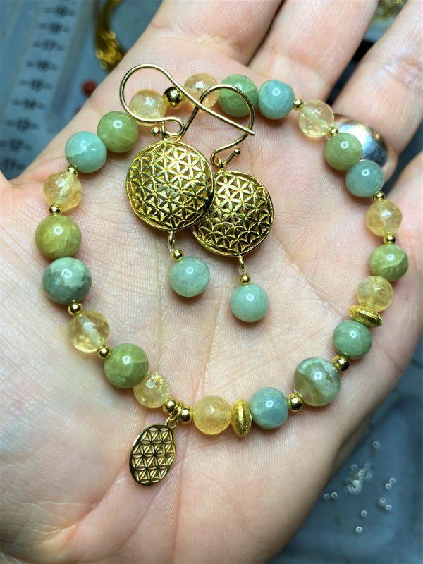Set: Citrin, Aquamarin und Jade Armband mit Blume des Lebens Ohrhänger - Lebensfreude, Frieden, Selbstvertrauen 1 SanjaNatur