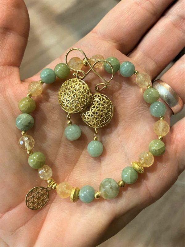 Set: Citrin, Aquamarin und Jade Armband mit Blume des Lebens Ohrhänger - Lebensfreude, Frieden, Selbstvertrauen 2 SanjaNatur