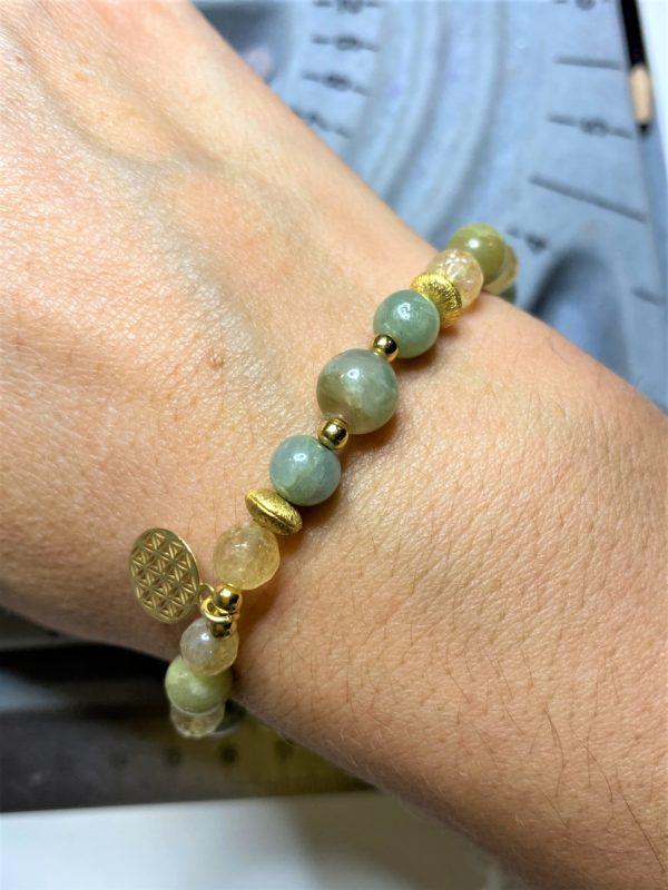 Set: Citrin, Aquamarin und Jade Armband mit Blume des Lebens Ohrhänger - Lebensfreude, Frieden, Selbstvertrauen 3 SanjaNatur