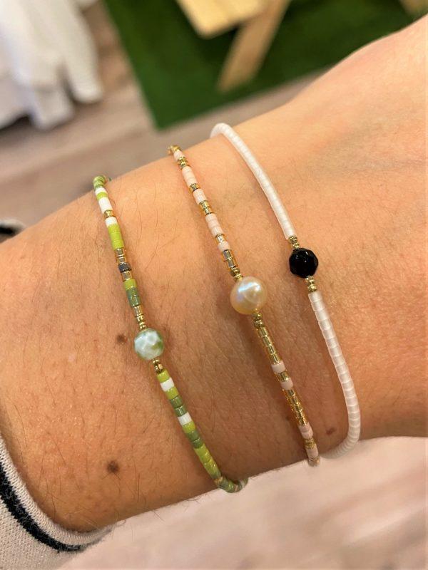 Zarte Armbänder mit Heilsteinen - Perle, Jade und schwarzer Turmalin 2 SanjaNatur