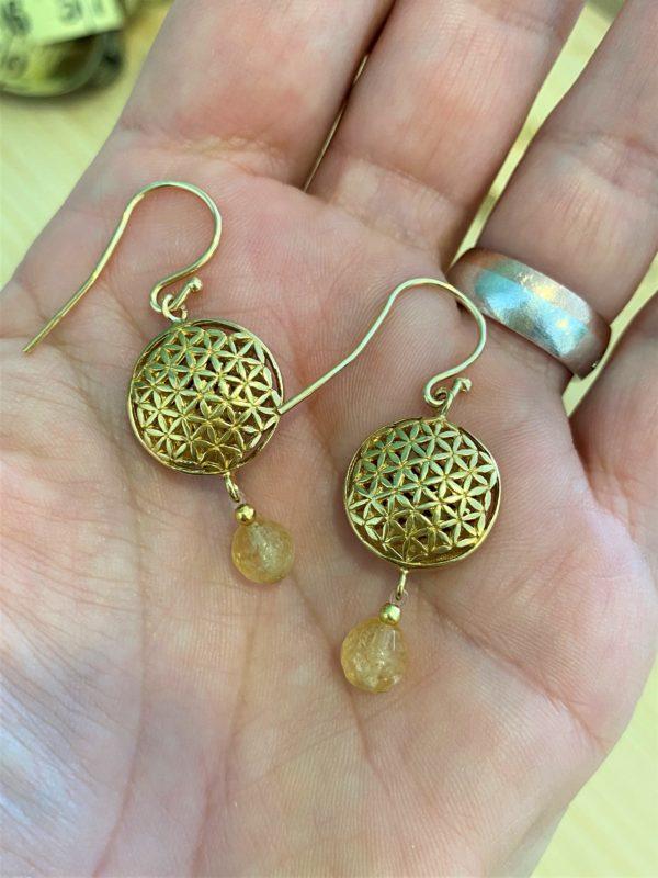Ohrhänger goldene Blume des Lebens mit Citrin - innerer Ausgleich und Mitte 1 SanjaNatur