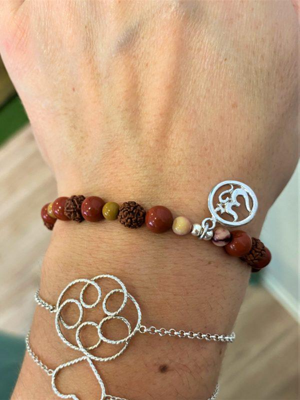 Edelstein-Armband Erdung mit OM-Zeichen in Silber - Ich-Bewusstsein, Reinigung, Schutz 2 SanjaNatur