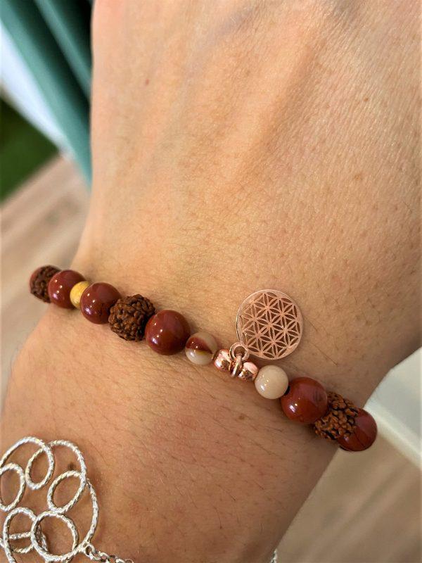 Edelstein-Armband Erdung mit Blume des Lebens in Rosé - Energie, Vitalität, Freude 2 SanjaNatur