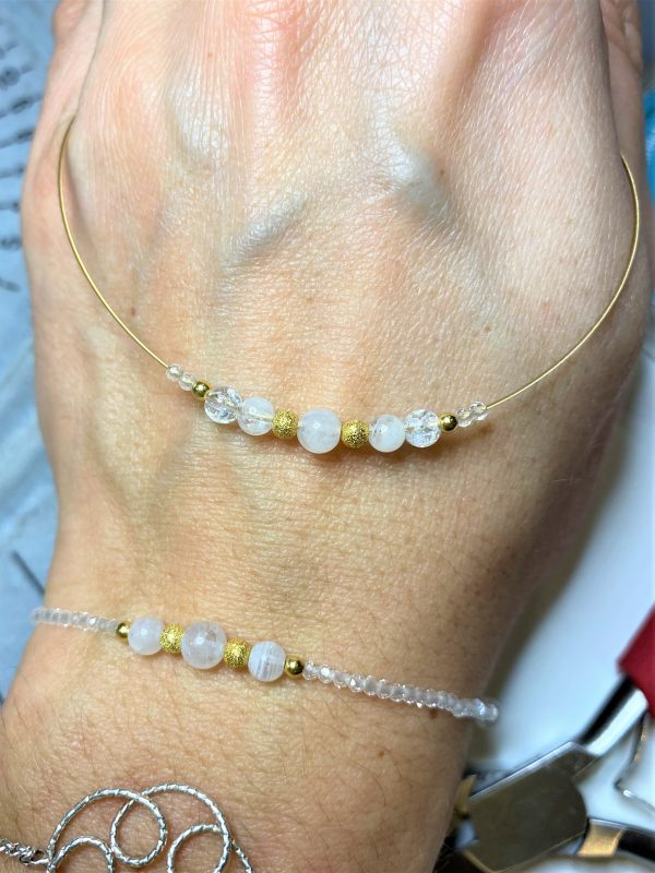 Set: Heilsteinkette mit Armband weißer Labradorit, Bergkristall, Topas - Gefühl, Intuition, Inspiration 1 SanjaNatur