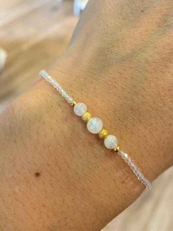 Set: Heilsteinkette mit Armband weißer Labradorit, Bergkristall, Topas - Gefühl, Intuition, Inspiration 3 SanjaNatur