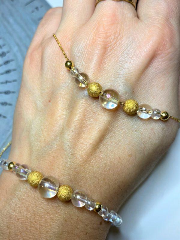 Set: Heilsteinkette mit Armband Angel Aura - Gold - Energie in Balance 1 SanjaNatur
