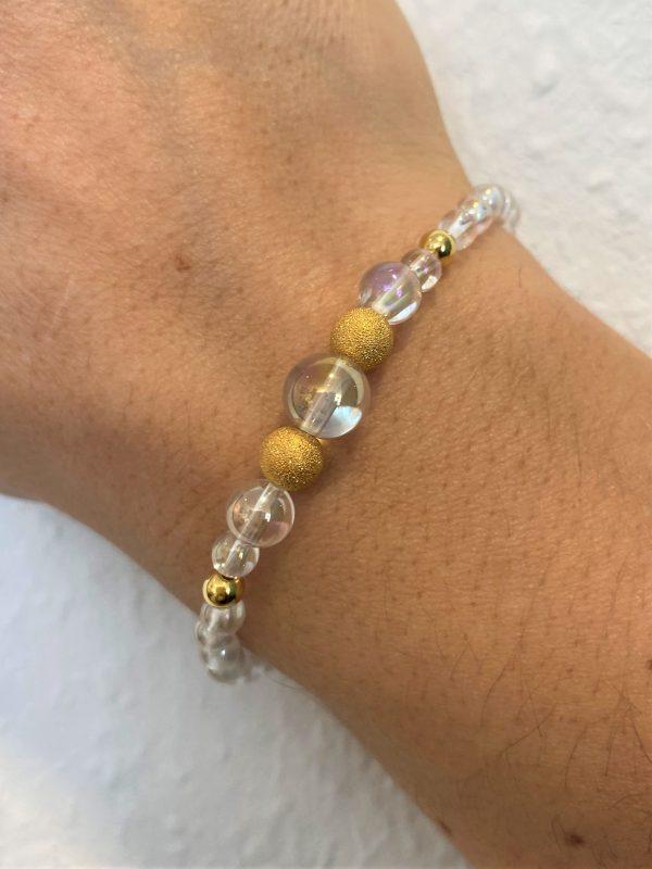 Set: Heilsteinkette mit Armband Angel Aura - Gold - Energie in Balance 4 SanjaNatur