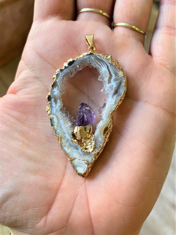 Achat mit Amethyst (Geodenscheibe mit Kristall) als Anhänger - Balance und Harmonie 1 SanjaNatur