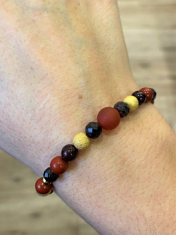 Set: Heilsteinkette mit Armband Granat und roter Jaspis - Mut, Zielstrebigkeit, Ausdruckskraft und Entschlossenheit 3 SanjaNatur