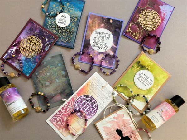 Set: Edelsteinarmband mit Wunschkarte oder Lesezeichen - verschiedene Ausführungen 1 SanjaNatur