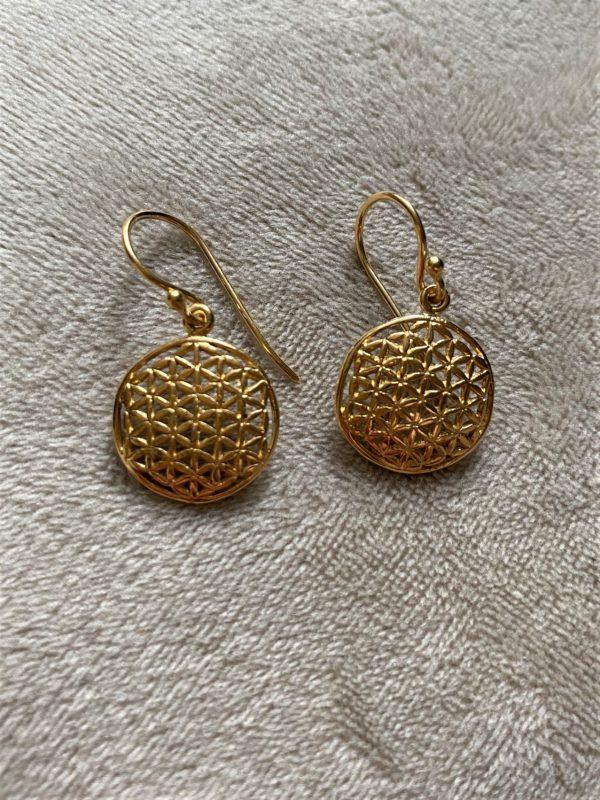 Ohrhänger Blume des Lebens, Silber vergoldet - Harmonie und Energie 1 SanjaNatur