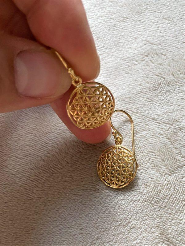 Ohrhänger Blume des Lebens, Silber vergoldet - Harmonie und Energie 2 SanjaNatur