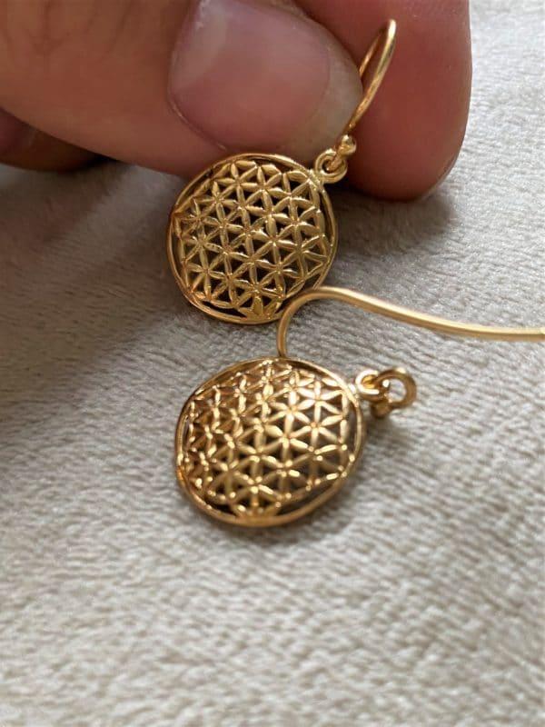 Ohrhänger Blume des Lebens, Silber vergoldet - Harmonie und Energie 3 SanjaNatur