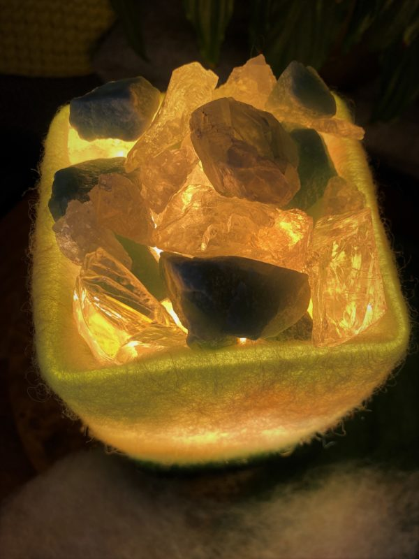 Edelstein Filzlampe 068 - Aventurin Bergkristall und Salzkristall - Mut Optimismus 2 SanjaNatur
