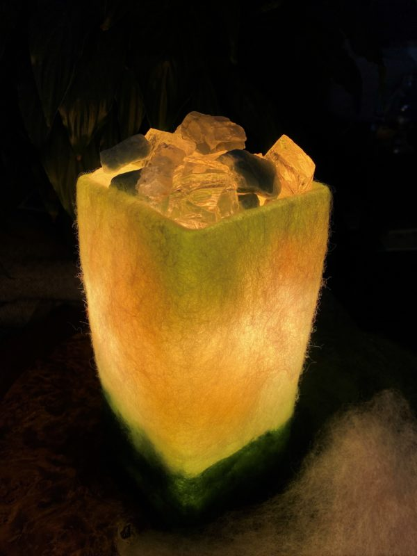 Edelstein Filzlampe 068 - Aventurin Bergkristall und Salzkristall - Mut Optimismus 3 SanjaNatur