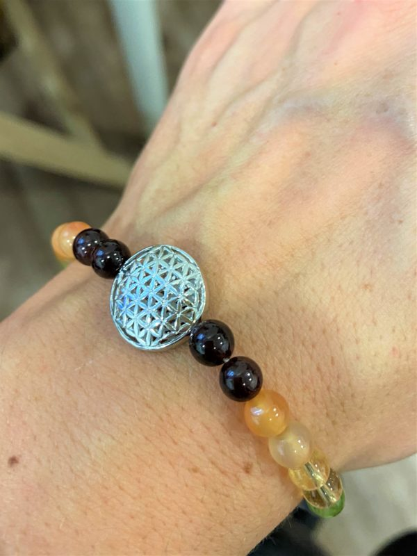 Armband Blume des Lebens, Om-Symbol, Chakraperlen - alle Farben 2 SanjaNatur