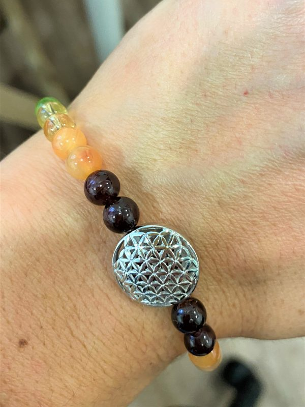 Armband Blume des Lebens, Om-Symbol, Chakraperlen - alle Farben 3 SanjaNatur
