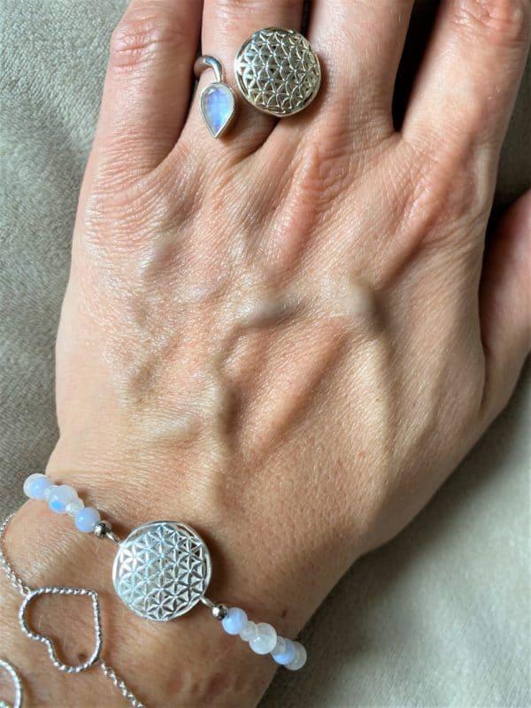 Set Edelsteinarmband Labradorit mit Blume des Lebens und passenden Ring - Harmonie und Energie 2 SanjaNatur