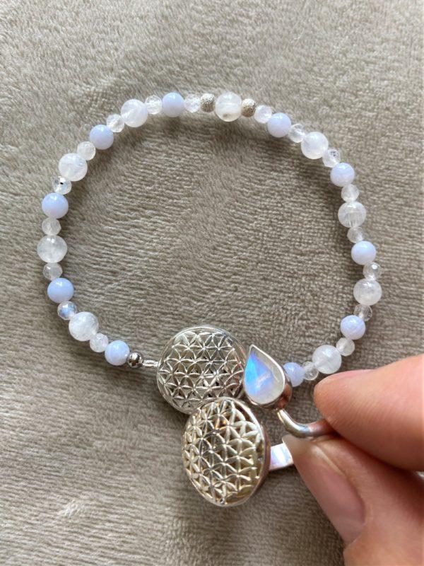 Set Edelsteinarmband Labradorit mit Blume des Lebens und passenden Ring - Harmonie und Energie 3 SanjaNatur