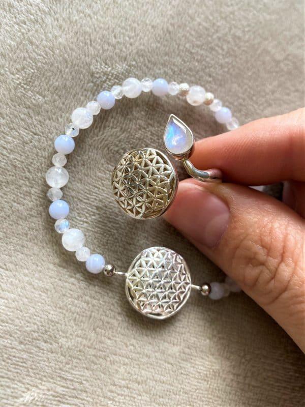 Set Edelsteinarmband Labradorit mit Blume des Lebens und passenden Ring - Harmonie und Energie 1 SanjaNatur