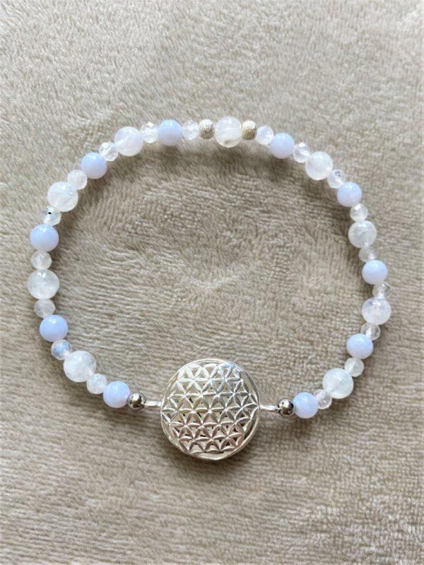 Set Edelsteinarmband Labradorit mit Blume des Lebens und passenden Ring - Harmonie und Energie 8 SanjaNatur