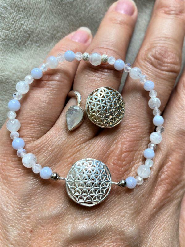 Set Edelsteinarmband Labradorit mit Blume des Lebens und passenden Ring - Harmonie und Energie 4 SanjaNatur