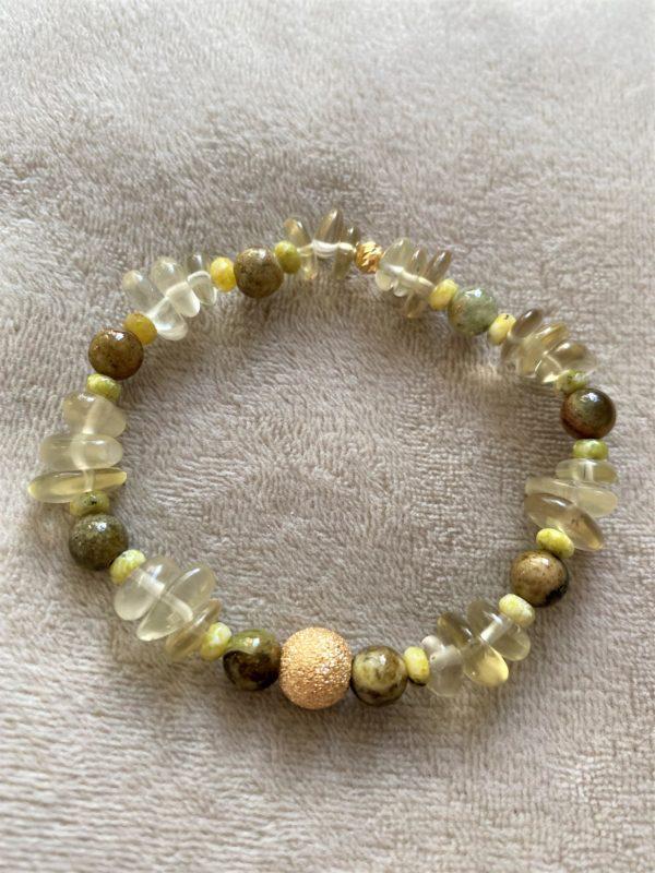 Edelsteinarmband Limonenquarz mit grünem Granat und Lizardit - Energie und Lebensfreude 2 SanjaNatur