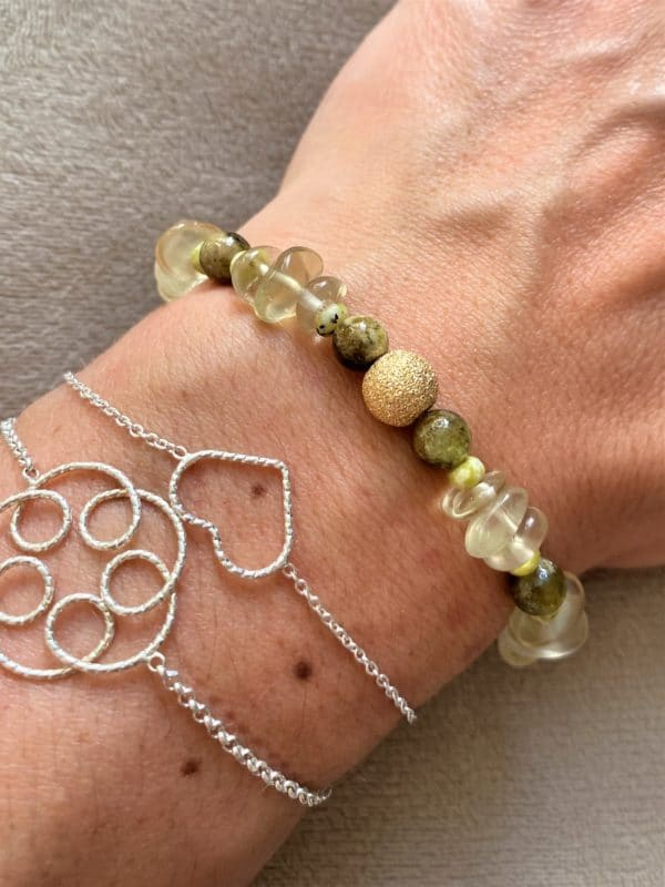 Edelsteinarmband Limonenquarz mit grünem Granat und Lizardit - Energie und Lebensfreude 5 SanjaNatur