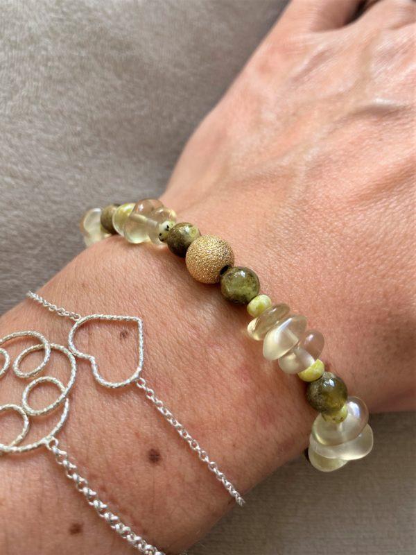 Edelsteinarmband Limonenquarz mit grünem Granat und Lizardit - Energie und Lebensfreude 4 SanjaNatur