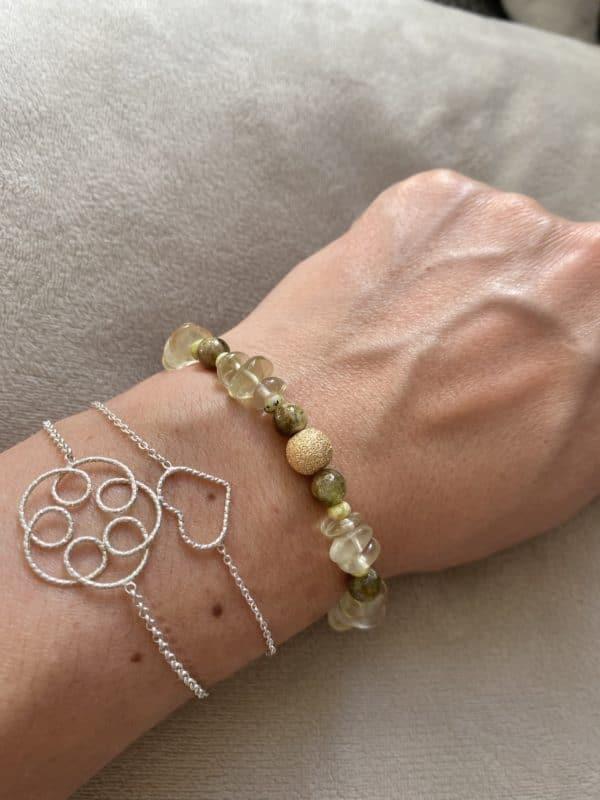 Edelsteinarmband Limonenquarz mit grünem Granat und Lizardit - Energie und Lebensfreude 3 SanjaNatur