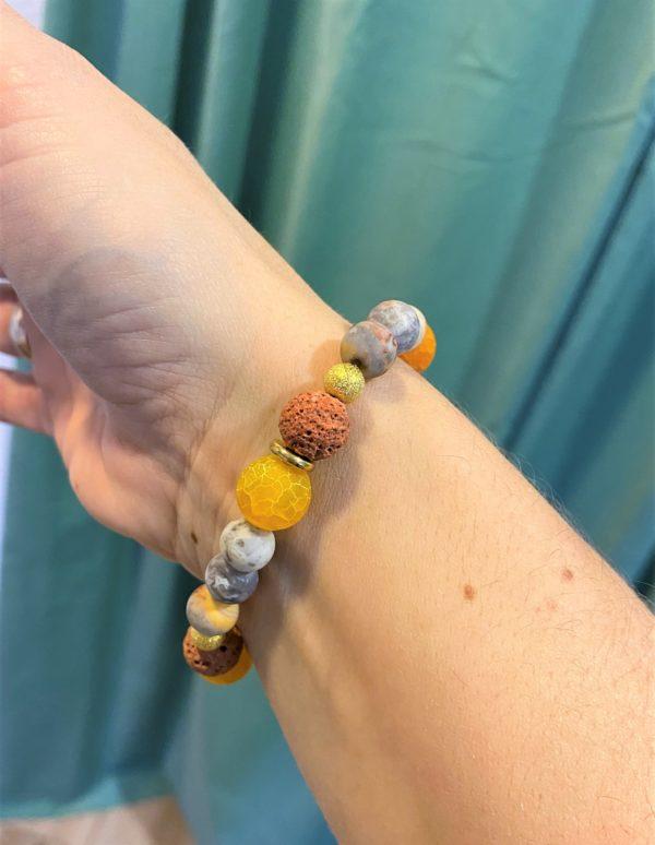 Edelsteinarmband bunte Lava mit Orangencalzit und Achat - Schutz und Mitte 3 SanjaNatur