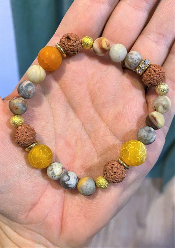 Edelsteinarmband bunte Lava mit Orangencalzit und Achat - Schutz und Mitte 2 SanjaNatur