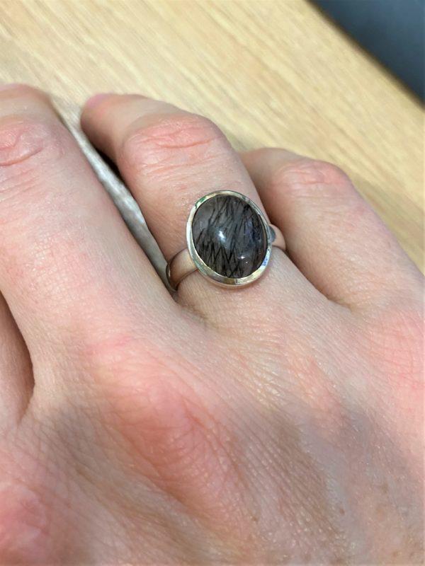Ring Turmalin in Bergkristall - Silber -Schutz und Sicherheit 4 SanjaNatur