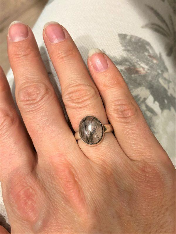 Ring Turmalin in Bergkristall - Silber -Schutz und Sicherheit 3 SanjaNatur